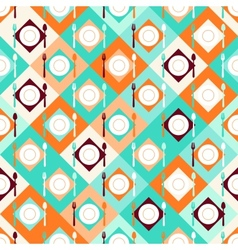 Seamless pattern with forks spoons and plates in vector