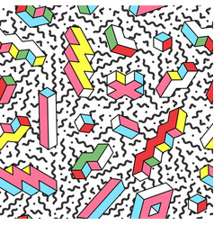 Memphis seamless pattern with 3d shapes vector