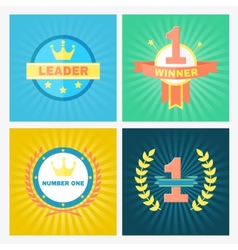 Flat winner emblems vector