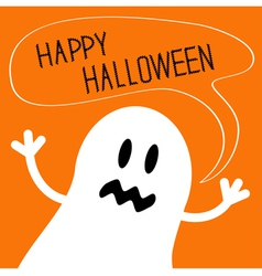 Cute ghost monster with speech text bubble vector
