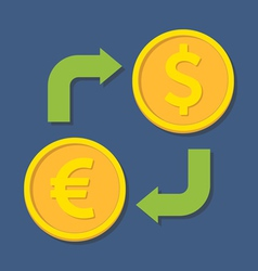 Currency exchange euro and dollar vector