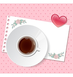 Valentine background with cup of coffee vector