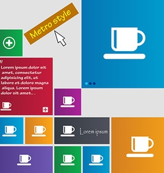 Coffee cup icon sign metro style buttons modern vector