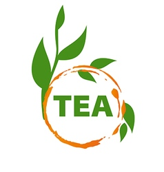 Logo imprint tea and green leaves vector