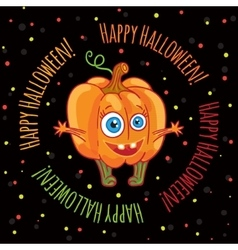 Happy halloween greeting card with a cute pumpkin vector