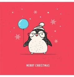 Cute penguin with balloon - Merry Xmas vector image