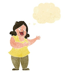 Cartoon happy fat woman with thought bubble vector