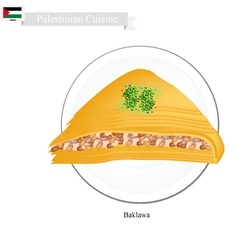 Baklava or palestinian cheese pastry with syrup vector