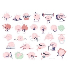 Brain stickers set vector