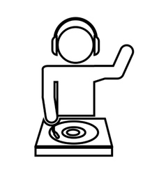 Disk jockey silhouette isolated icon design vector