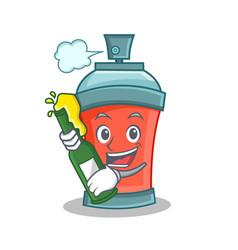 Aerosol spray can character cartoon with beer vector