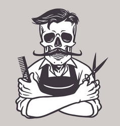 Barberman skull vintage drawing vector