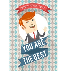 Best dad greeting card for fathers day on seamless vector image vector image