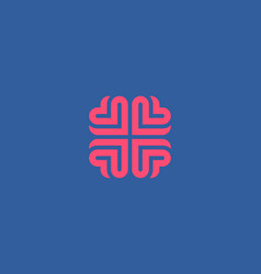 Brain heart logo design education medical vector