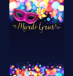 Bright mardi gras poster template with bokeh vector