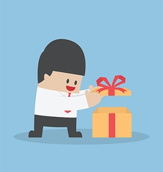 Businessman opened the gift box vector image