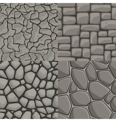 Cartoon stone wall seamless set vector
