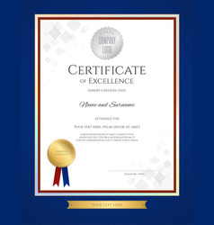 Certificate of excellence template in portrait vector