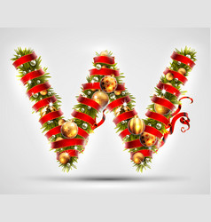 christmas font letter w of christmas tree vector image vector image