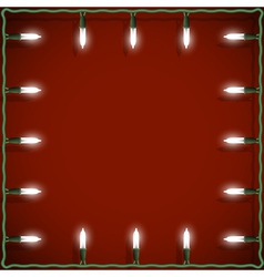 Christmas lights frame on red background vector image