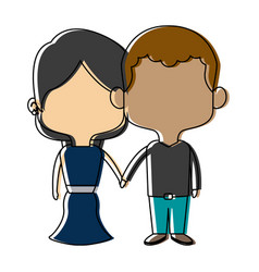couple of young man and woman hold hands romantic vector image vector image