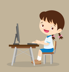 cute student girl working with computer vector image