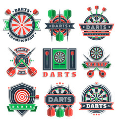 Darts tournament icons and badges for sport clubs vector