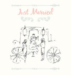 Drawn bride groom carriage sketch vector
