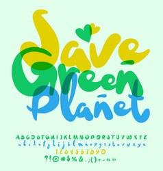 Eco logo save green planet vector