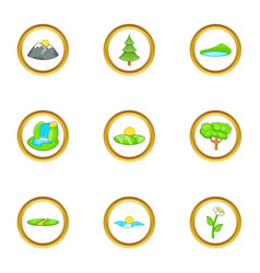 Environment icon set cartoon style vector