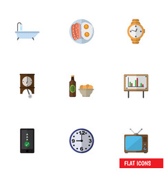 Flat icon life set of cellphone whiteboard timer vector