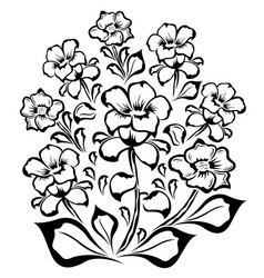 Flower group black outline vector
