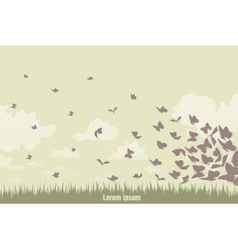 flying butterflies on a green landscape vector image