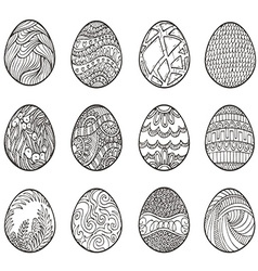 Happy Easter Set of different eggs for design vector image