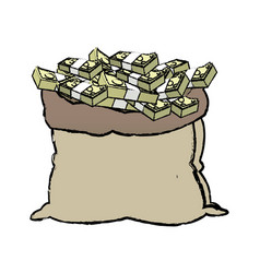 Open money bag stack banknote dollar cash banking vector