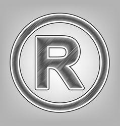 Registered trademark sign pencil sketch vector