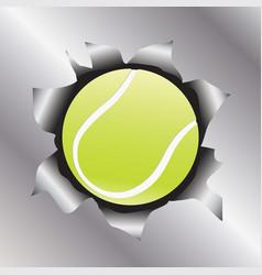 Tennis thru metal sheet vector