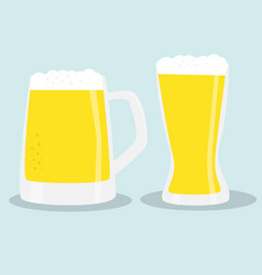 two glasses of beer color vector image