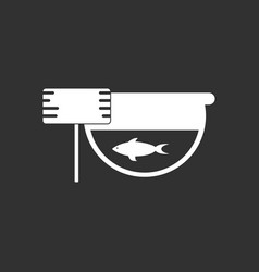 White icon on black background fish in an aquarium vector