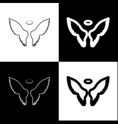 Wings sign black and white vector
