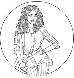 woman in a circle - coloring antistress vector image