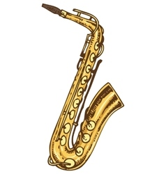 Isolated golden saxophone vector