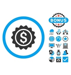 Banking stamp flat icon with bonus vector