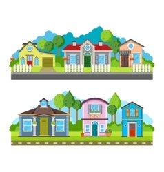 Residential village houses flat vector