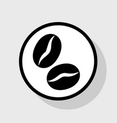 Coffee beans sign  flat black icon in vector