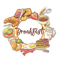 healthy breakfast hand drawn design with coffee vector image