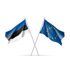 Estonia and european union waving flags vector