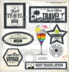 Travel and vacation post stamp set vector image