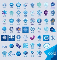 Biggest collection of logos cold and frost vector