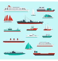 Ships and boats set vector